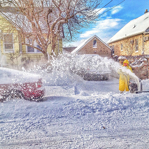 Clearly mark driveways and paths to curb lawn damage from snow removal equipment.